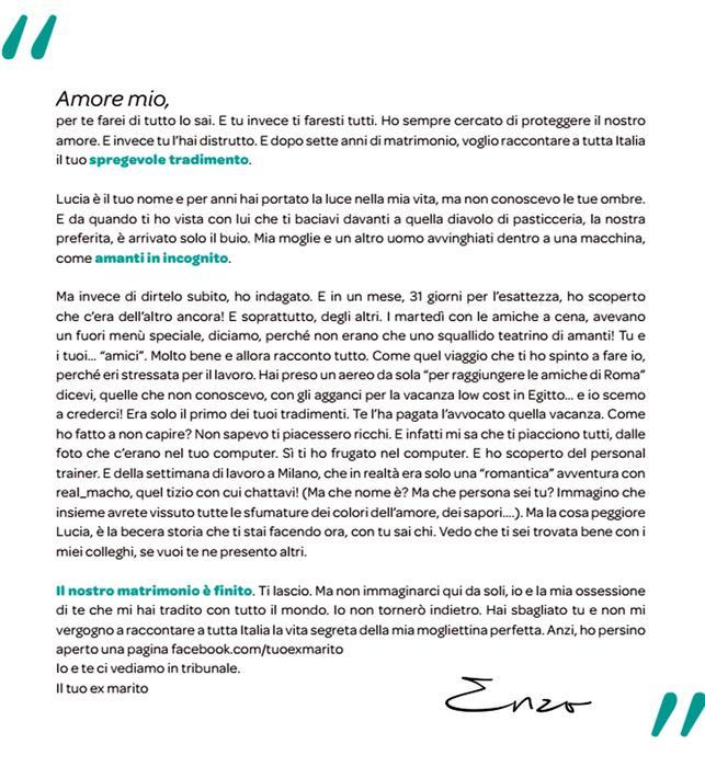 La lettera, pubblicata a pagamento sul Corriere della Sera, dal marito tradito.