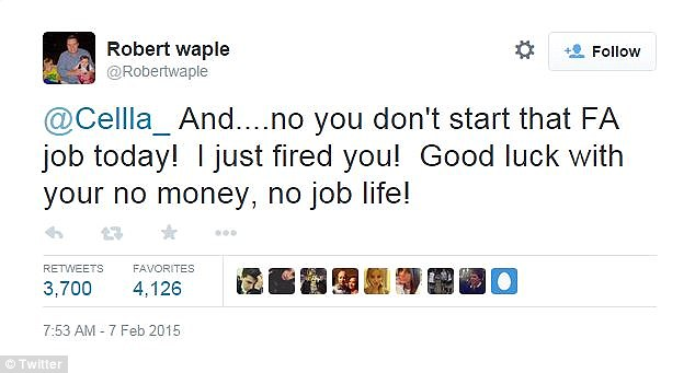 Tweet di risposta di Robert Waple