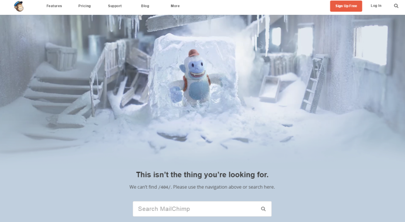 Pagina 404 creativa MailChimp