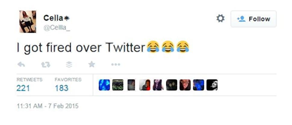 Il tweet di Cella dopo il licenziamento