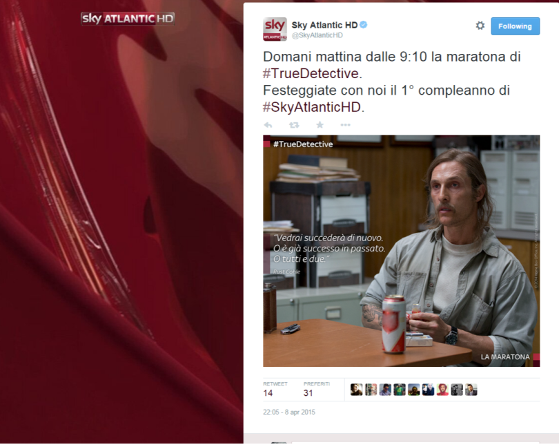 Sky Atlantic HD su Twitter